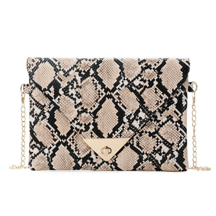 Women Shoulder Snake Skin Print Envelope Messenger Bags Fashion Crossbody