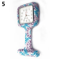 Women Silicone Square Nurse Watch Clip-on Brooch Pocket Quartz Movement Square Water Transfer Nurse Table Leisure Gift Watch
