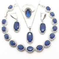 Women Silver 925 Bridal Jewelry Sets Bracelets Necklace Earrings Rings Set Jewelery With Blue Zircon White Stones Gift