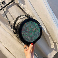 Women Slanting Bag Women Glitter Sequins Round Shape Shoulder Bag Girls' Chain Circular Handbag Simple PU Leather Messenger Bag