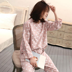 Women Sleepwear Pajamas Cute Polka Dot Casual Tops Pants  Home Long Sleeve nightwear 2PCS