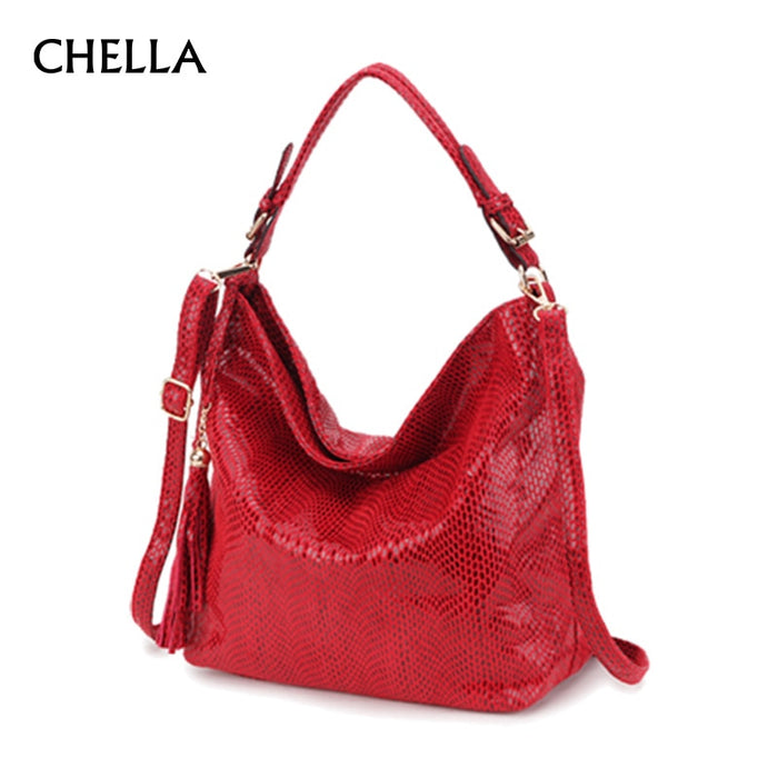 Women Snake Leather Shoulder Bag Female Serpentine Pattern Hobos Bags Tassel Big Handbag Luxury Designer Ladies Tote SS0309