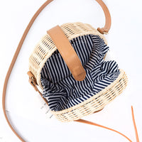 Women Straw Bag Bohemian Bali Rattan Beach Handbag Small Circle Lady Vintage Crossbody Handmade Kintted Shoulder Bags SS0371