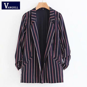Women Striped Print Jacket Coats Ruffles Sleeve Turn-Down Collar Elegant Suit Jackets Autumn Spring Outerwear mujer VANGULL 2018