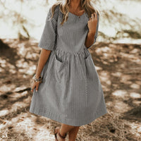 Women Summer Elegant O Neck Half Sleeve Pockets Loose Party Vestido Casual Baggy Work Striped Dress Sundress Oversized 3XL