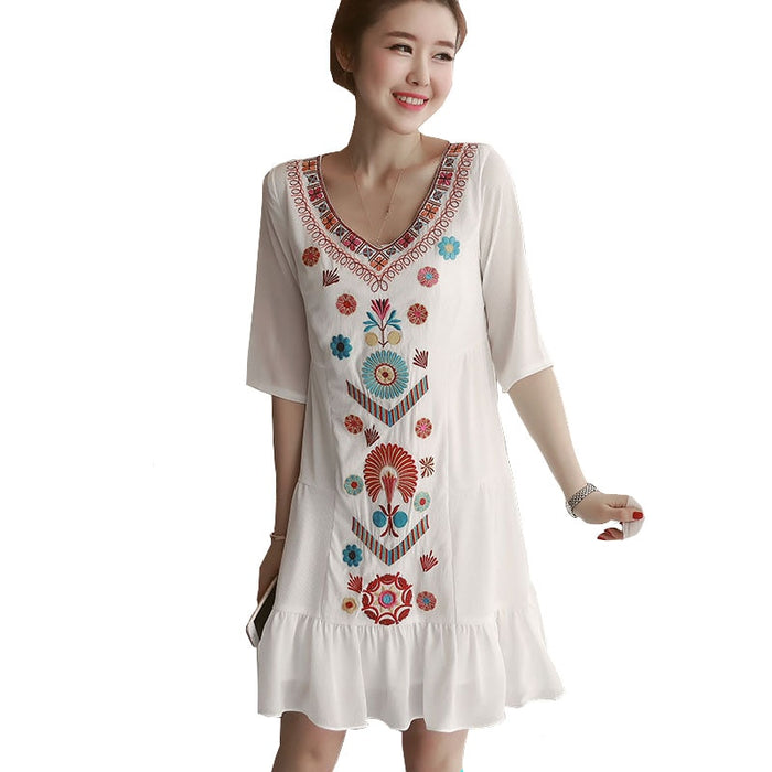 Women Summer Embroidery Dress Fashion Ladies Chiffon Vintage