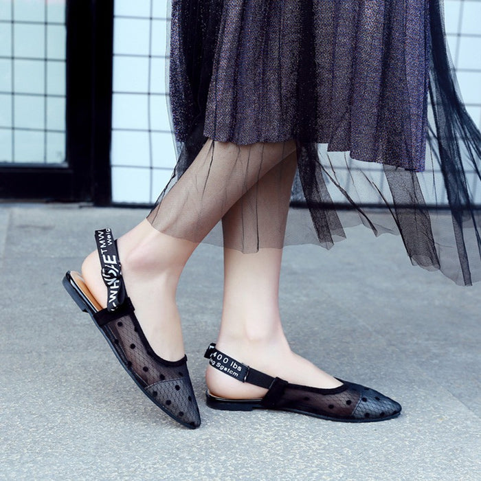 Women Summer Flat Black Air Mesh Shoes Pointed Toe Butterfly Knot Back Strap Casual Slip on Dots Shoes Chaussures Femme
