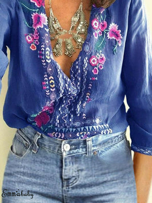 Tops Long Sleeve Tunic Blouse Flower Print Shirts Ladies Loose Embroidered Flower