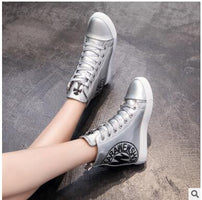 Women Wedges Shoes Sneakers High Pumps Women Casual Shoes Female Platform Women Split Leathe Shoes White Student Shoes Boot