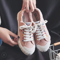 Women White Canvas Shoes Lace Up Solid Colors Zapatillas Deportivas