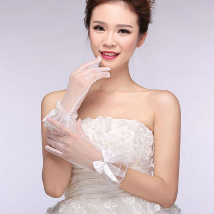 Women White Short Gloves Full Finger See Through Ribbon Bowknot Decor
