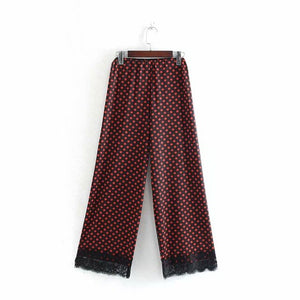 Women fashion lace stitching black polka dot print wide leg pants retro chic long trousers female casual Elastic pants