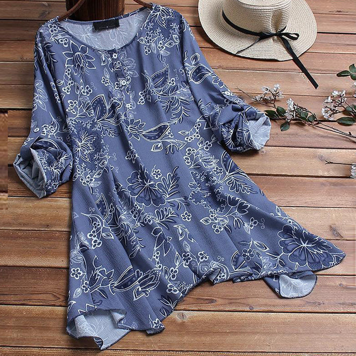 Women's Blouse Ladies Floral Print Sexy Long Sleeve Button Shirt Pullover Tops womens tops and blouses camisas mujer blusas NEW