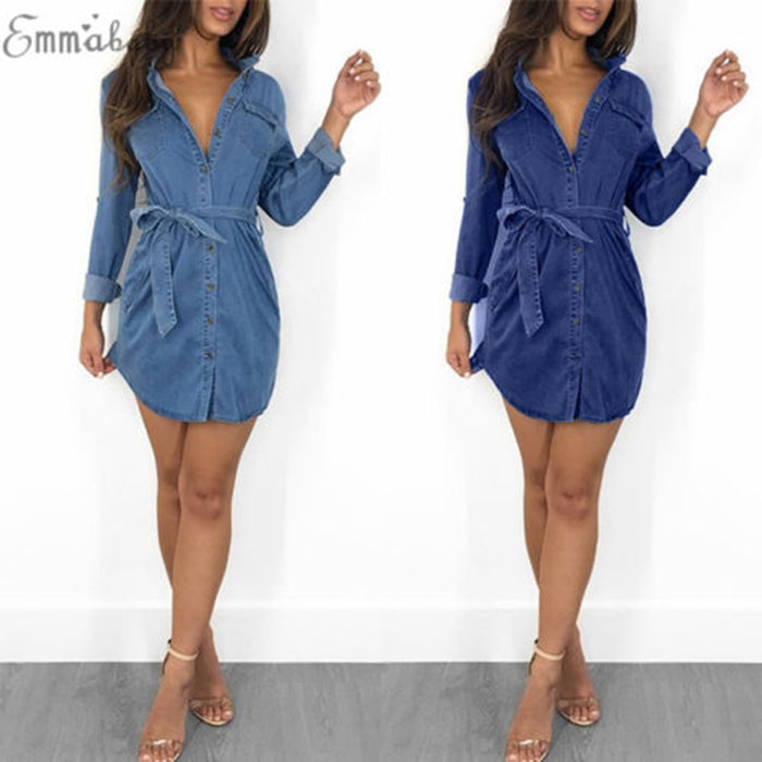 Women's Blue Jeans Denim Pocket Long Sleeve T-shirt Loose Dress