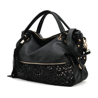 Women's Fashion Black Women's Handbags Shoulder Bags Purse PU Leather Women Messenger Hobo Bag  LBY2017