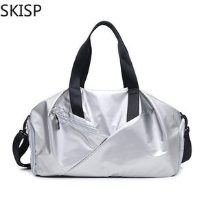 Women's Fittness Bag Waterproof Light Travel Bags Ladies Shoes Zipper Outdoor Sport Yoga Large Shoulder Bags Men Sliver Pink