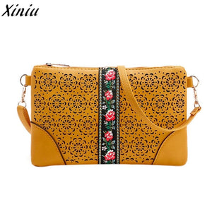 New Fashion Leather Women Bag Female Shoulder Messenge Bag Casual Flowers