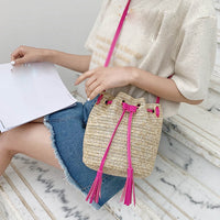 Women's Shoulder Bag Woven Rattan Bag Fashion Lady Literary Straw Tassel Bucket Wild Shoulder Messenger Bags bolsa feminina