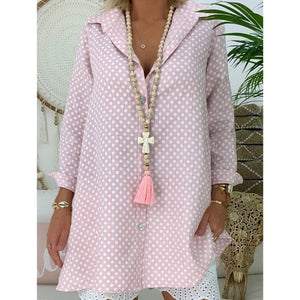 Women's Summer Loose Casual Dot Blouse Shirt Long Sleeve Polka Tops Beach Or OL  Ladies' Top Plus Size S-3XL