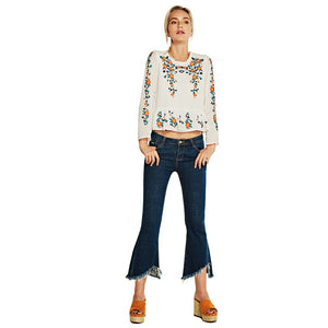 Women shirt Embroidered Floral Tops Elegant long sleeve round neck