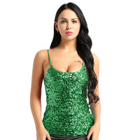 Womens Fashion Club Top Dazzling Glittery Sequins Spaghetti Shoulder Straps Summer