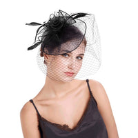 Womens Wedding Party Fascinator Veil Decor Feather Mesh Hat Hair Clip Headwear