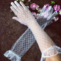 Womens White Stretchy Elbow Length Long Gloves Full Finger Rhombic