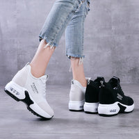 Womens White Vulcanized Shoes Ladies Chunky Trainers Disruptor Hidden