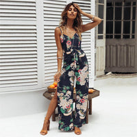 Womens sexy Strappy Floral Printed bow Slit Long Trouser Playsuits Jumpsuit Rompers