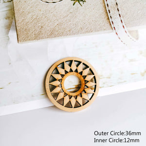 Wooden Round Eardrop White Bronze Color Pendant Earring Accessories Component Necklace Charms Jewelry Finding Diy Material 10pcs