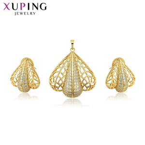 Xuping 2-piece Jewelry Sets European Romantic Style Beauty Light Yellow Color Plated for Women for Family Gifts S134.4-6528413
