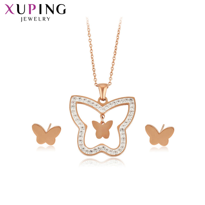 Xuping Butterfly Shaped Stainless Steel Jewelry Set Romantic Lovely Popular Design Family Birthday Gift for Ladies S176.6-65506