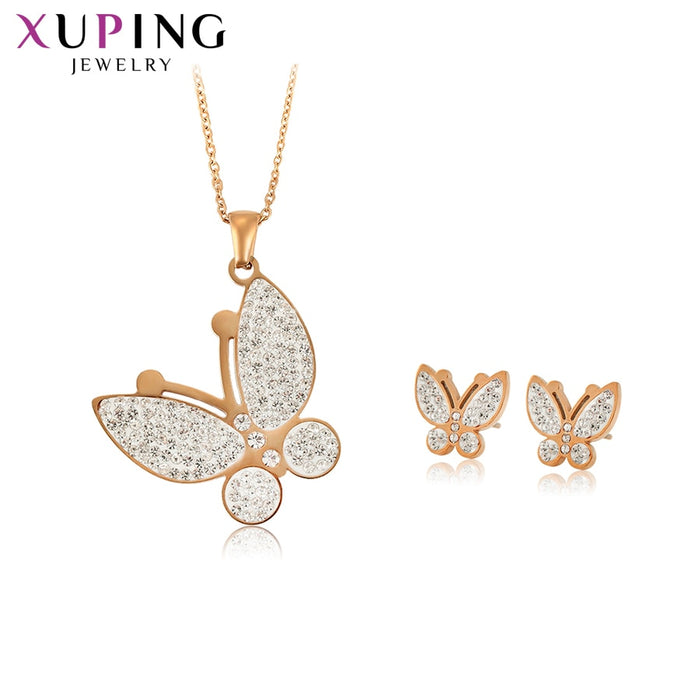 Xuping Butterfly Shaped Stainless Steel Jewelry Set for Women Party Family Birthday Anniversary Fashion Prime Gift S176.7-65515