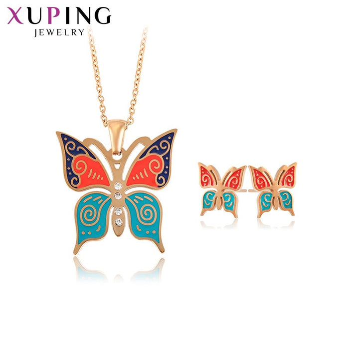 Xuping Elegant Butterfly Shaped Stainless Steel Jewelry Set for Women Colorful Charms Styles Family Birthday Gifts S176.6-65523
