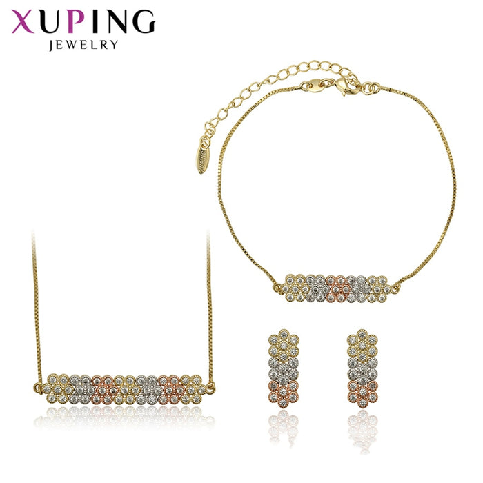 Xuping Environmental Copper Geometric Synthetic CZ Series 3-piece Jewelry Sets for Women Temperment Family Gifts S134.4-6530713