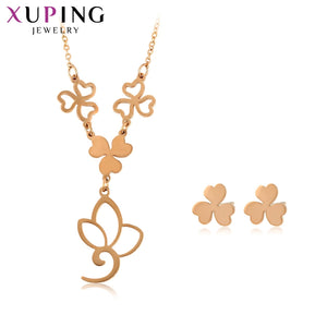 Xuping Leaf Shaped Stainless Steel Jewelry Set for Women Family Birthday Fashion Prime Gift S176.6-65521