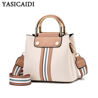 YASICAIDI Charm Women PU Handbag Portable Casual Tote Lady Messenger Bag Fashion Bottom Rivet Wide Shoulder Strap Crossbody Bags