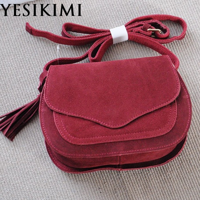 YESIKIMI Genuine Leather Bags For Women Vintage Suede Tassel Shoulder Bag Retro Feminine Small Saddle Bolsos Nubuck leather