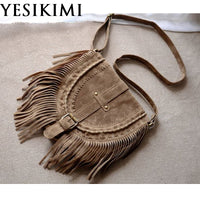 YESIKIMI PU Leather Bags For Women Vintage Suede Tassel Shoulder Bag Retro Feminine Small Saddle Bolsos Nubuck leather