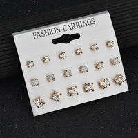 Yobest 2019 New 29 Styles Rhinestone imitation Pearl Silver Gold Stud Earring Set Earrings For Women