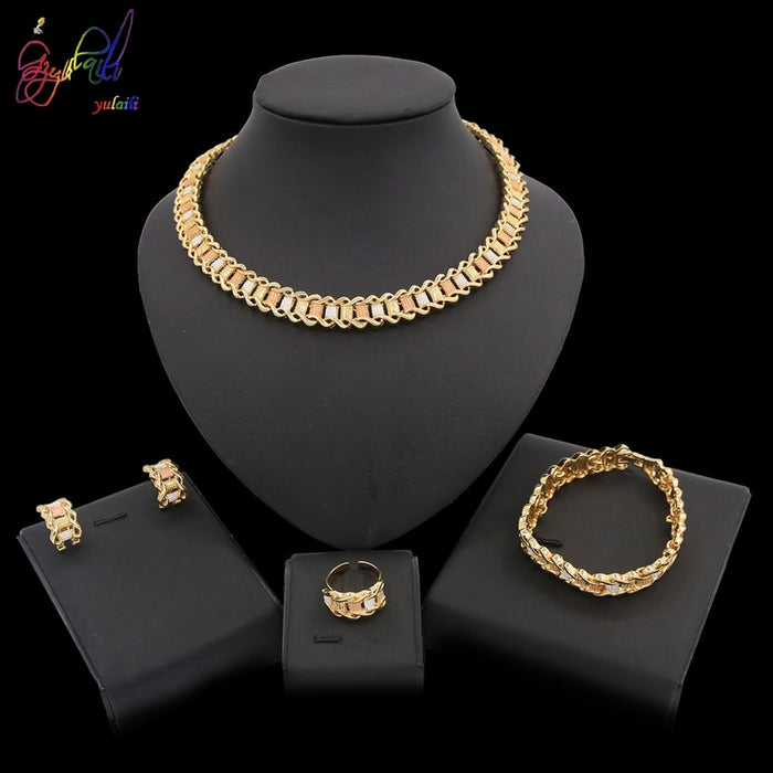 Yulaili 2019 African Jewelry Set Dubai Gold Jewelry Sets For Women Wedding Party Jewellery Set Bridal Costume Jewelery