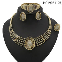 Yulaili Women's Jewelry Set Formal Party Zinc Alloy Square Necklace Earrings Bracelet Ring High Quality Indian Jewelery Sets