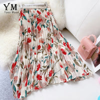 Chiffon Skirt Summer Flower Elegant Pleated Skirt Ladies Vintage