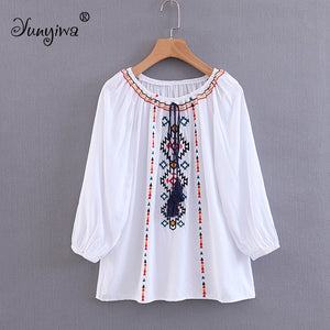 Women Blouses Shirts Summer women's new embroidered shirt long-sleeved