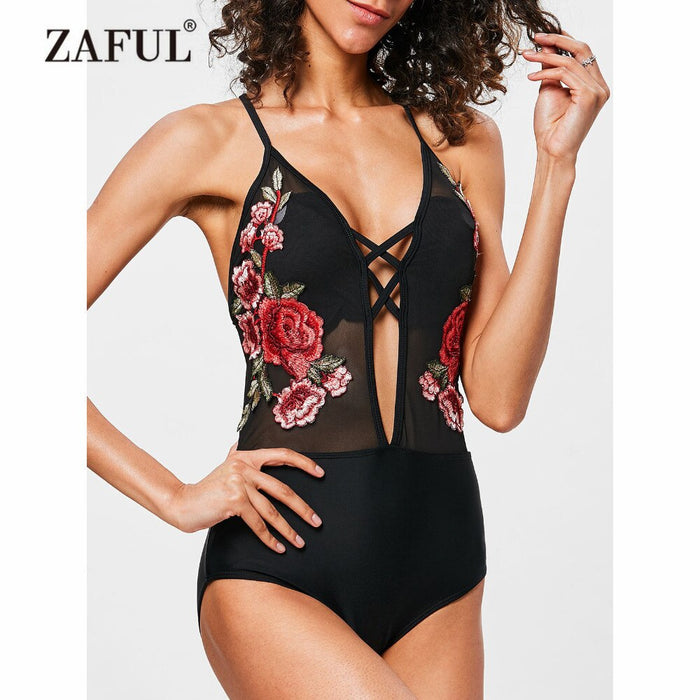 Embroidered One Piece Swimwear High Waisted Embroidered