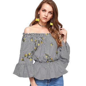 Women Summer Autumn Blouses Shirts Off The Shoulder Embroidered Checked Blouse