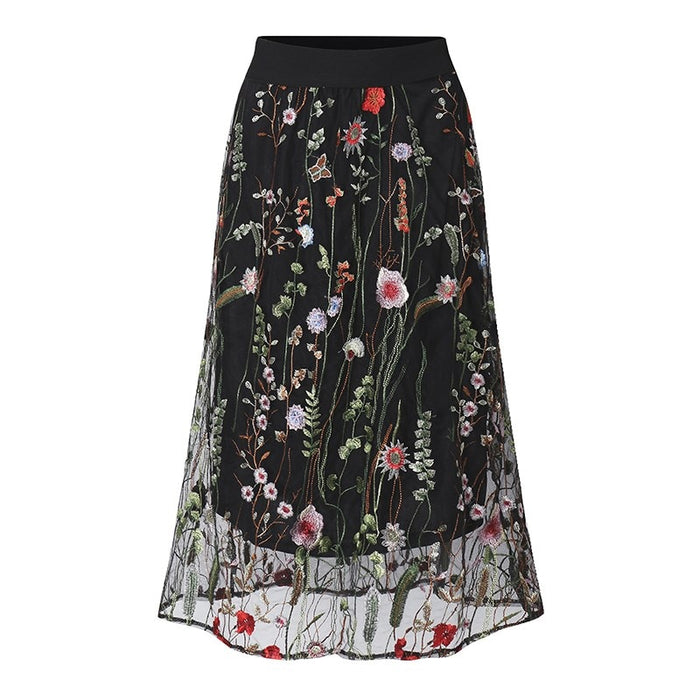 ZANZEA Women Skirts 2019 Summer Fashion Vintage Floral Embroidered Skirt Elegant Ladies Sexy Mesh Long Skirt Plus Size