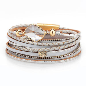 ZG 2019 Fashion Jewelry Bracelet Ladies in 3 Colors With Peace Charms in Gold Color and Shinning Clear Crystal Stones