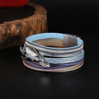 ZG Multilayer Bracelets for Women Rope Metal Charm Bohemian Leather Bracelet Female Wide Bracelets & Bangles Femme Jewelry
