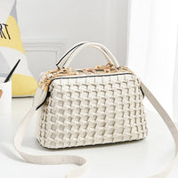 ZMQN Female Bags Handbags Women Famous Brands Solid Weaving Doctor Bag Luxury Crossbody Bags For Women 2019 Fashion White A581
